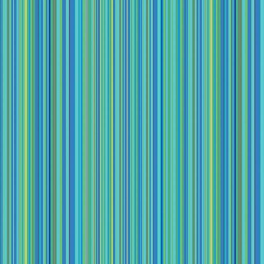 Contempo Warp & Weft Premium Yarn Dyes Multi Stripe Aqua Fabric