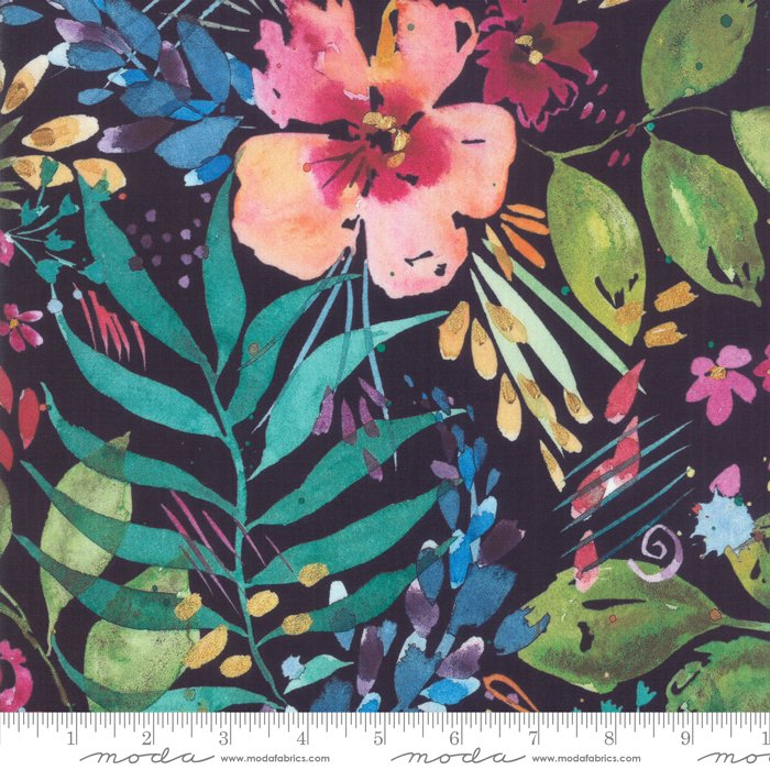 Brightly Blooming Navy 8430 12D Flower Party by Moda Fabrics
