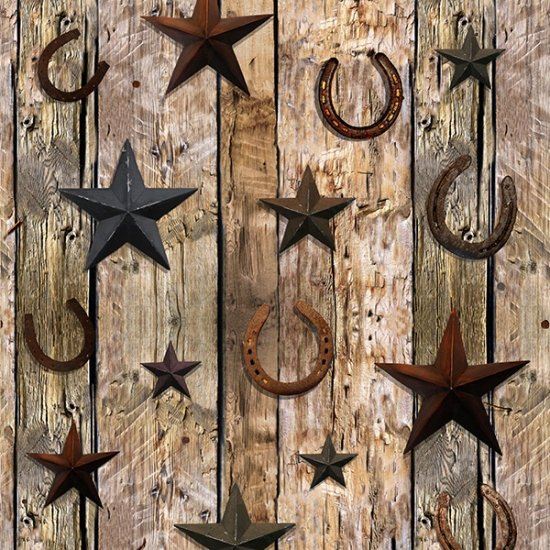Rust Wood Planks with Horseshoes Digital