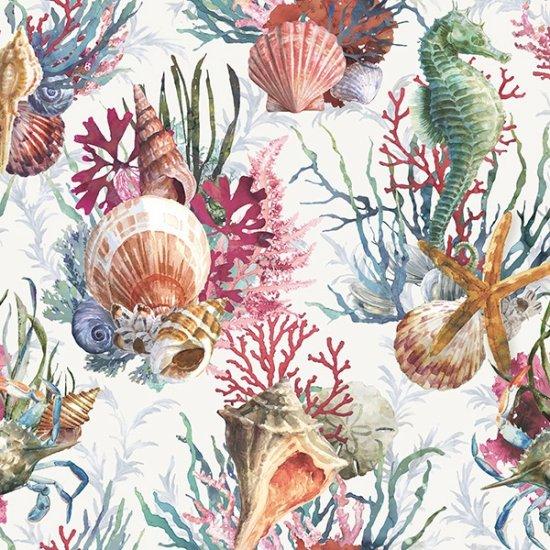 Hoffman Fabrics Shoreline Stories Seahorse S4801-290