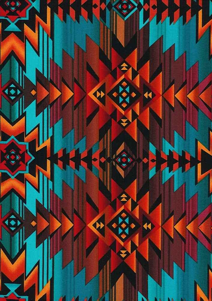Southwest Blanket Turquoise Aztec  C7510 West By Timeless Treasure