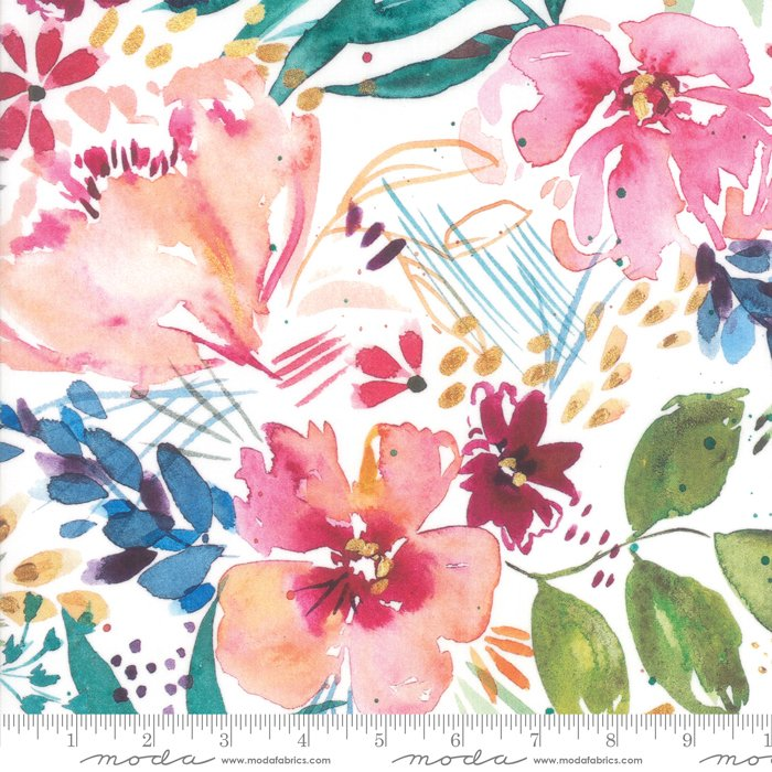 Brightly Blooming 8430-11D Flower Party White by Moda Fabrics