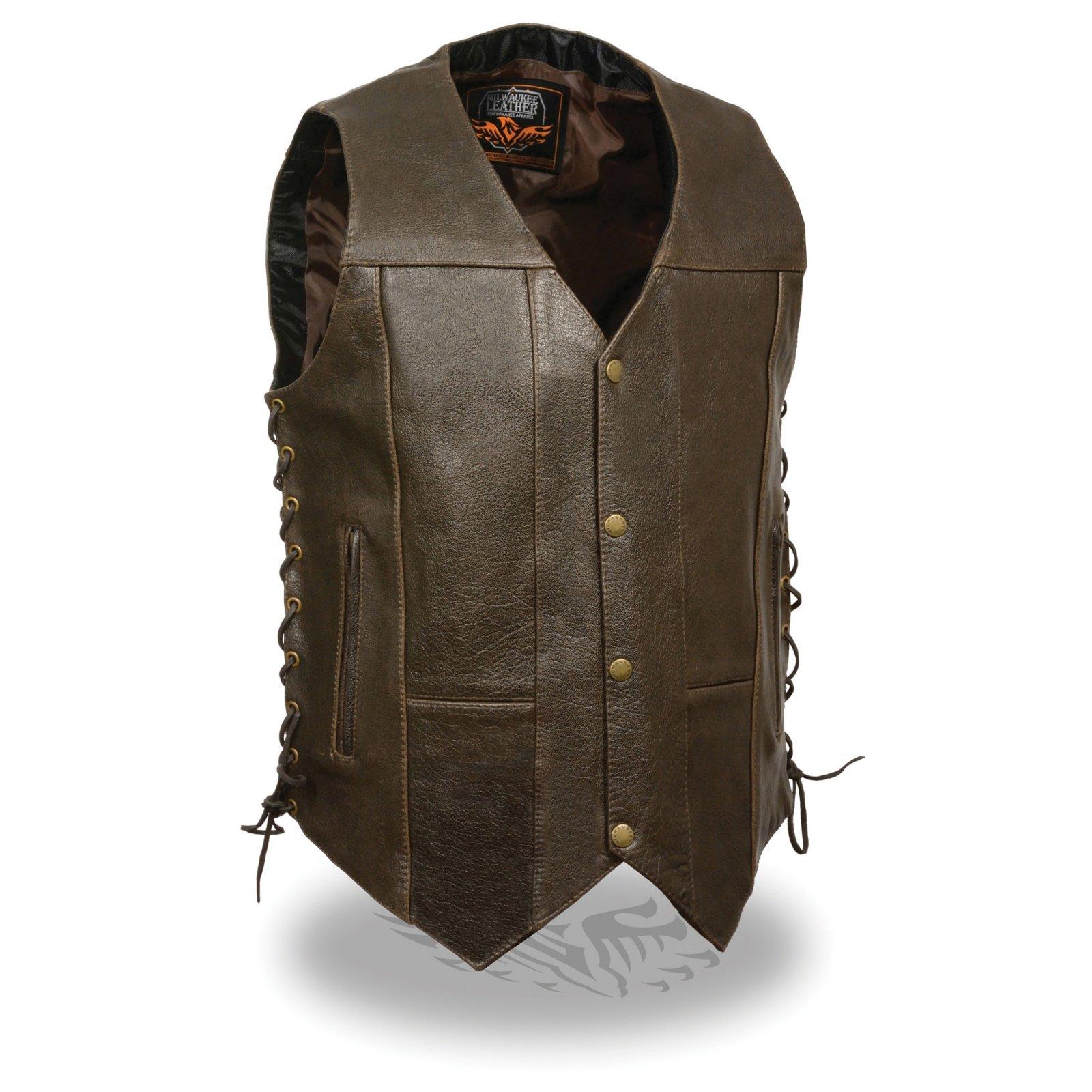 Men's Retro Brown 10 Pocket Side Lace Vest