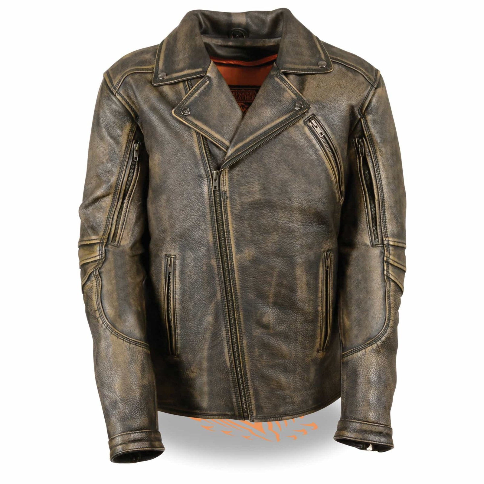 Men's Triple Stitch Extra Long Beltless Biker Jacket