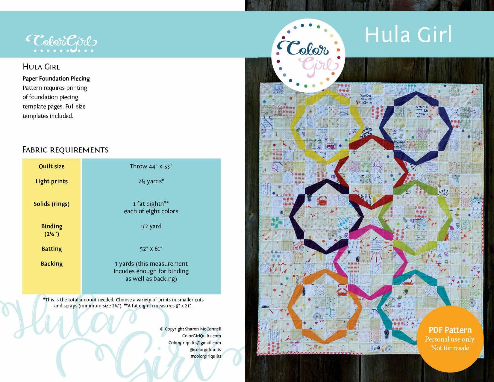 Hula Girl Quilt Pattern