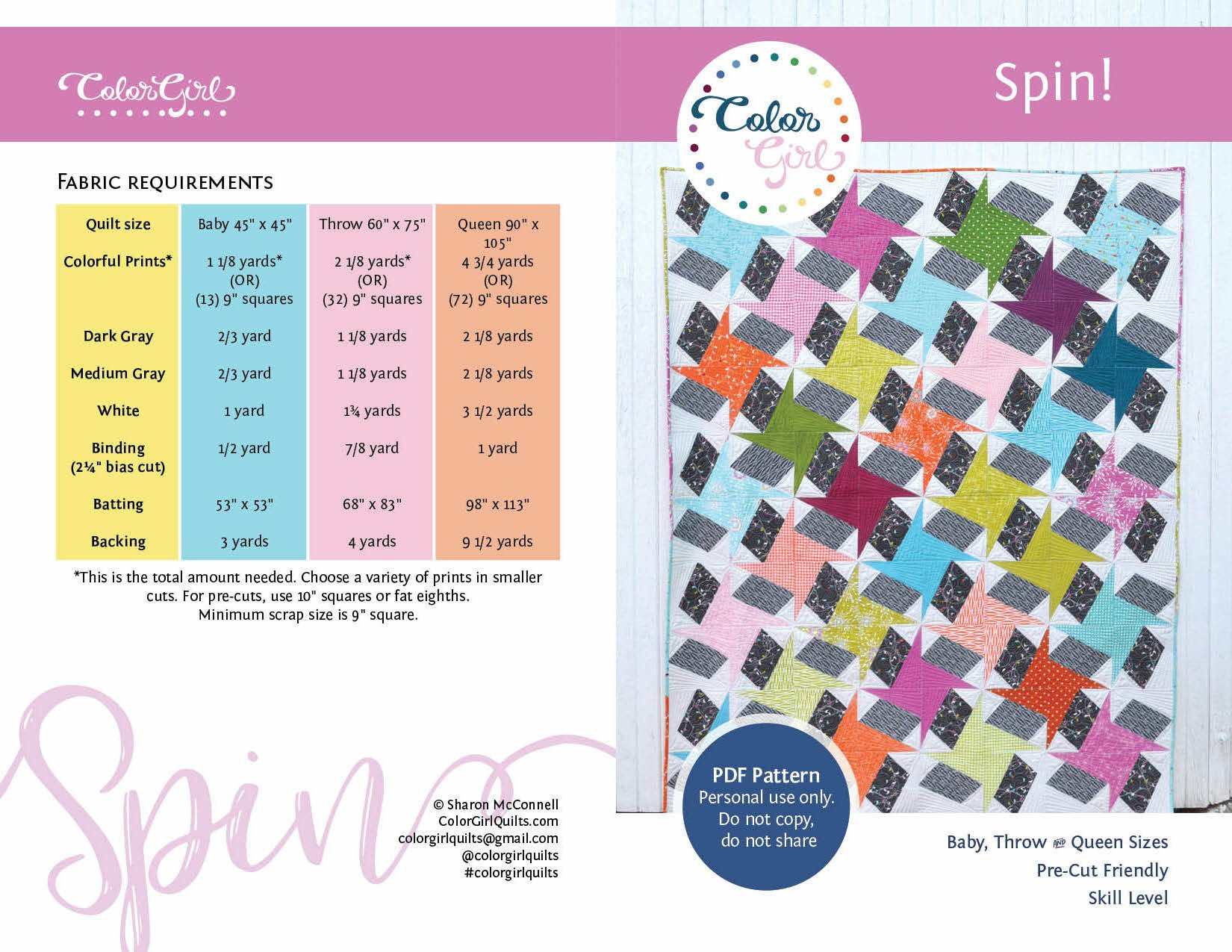 Spin! Quilt Pattern