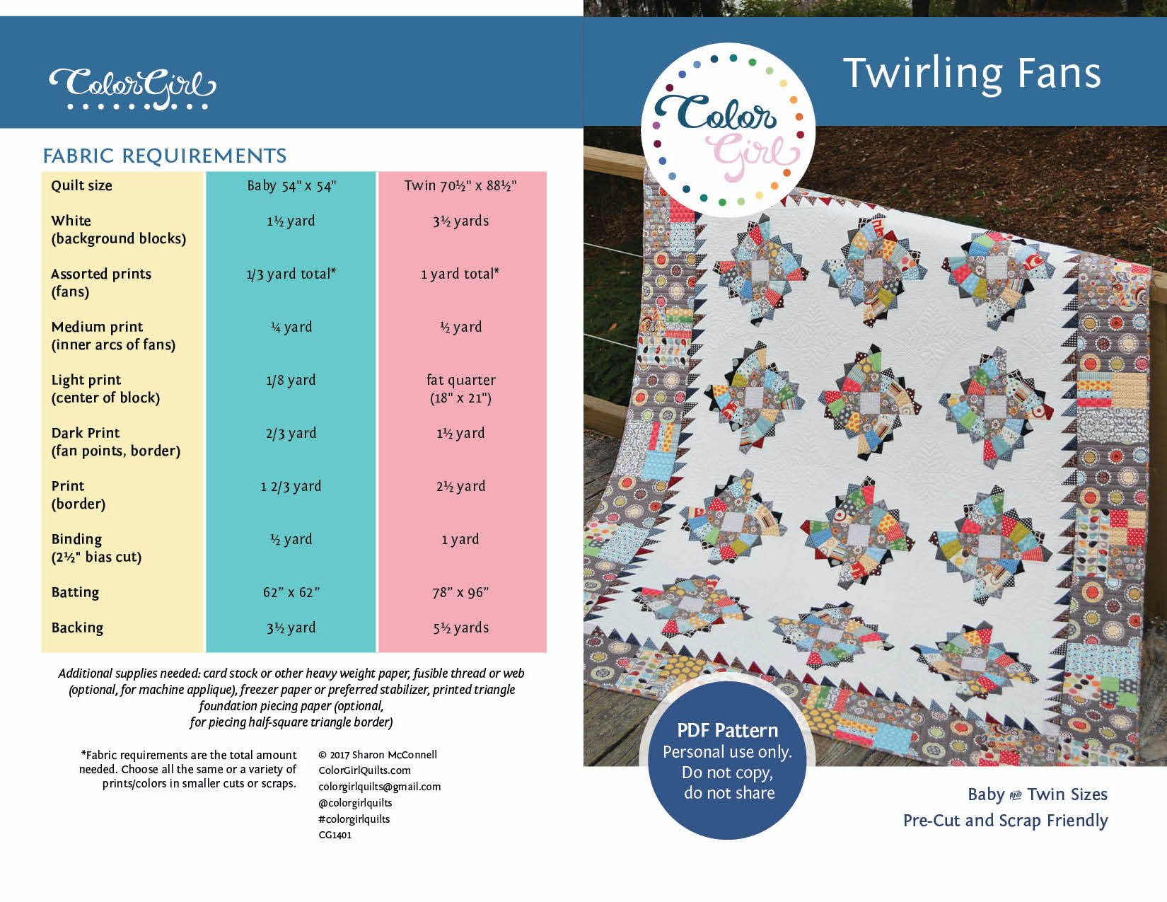 Twirling Fans Quilt Pattern (pdf)