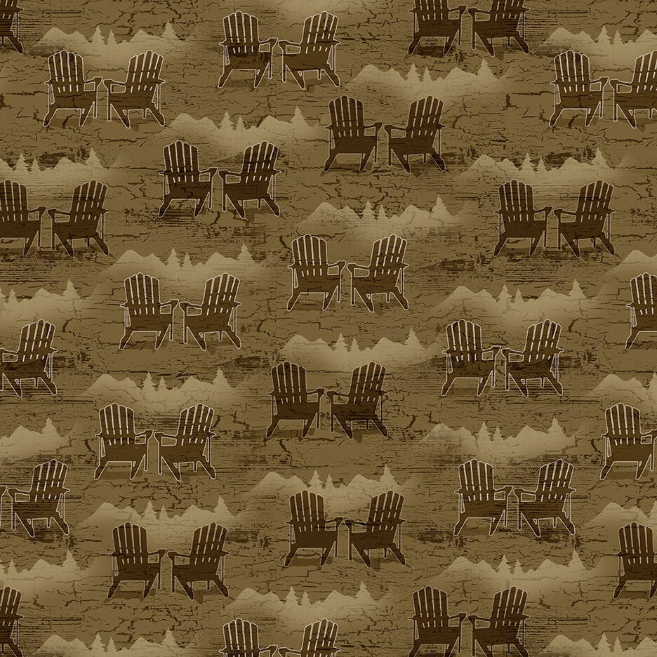Adirondack Chairs Brown Q-1694-33 Twilight Lake Collection from Henry Glass Fabrics.  Outdoor Lake Forest