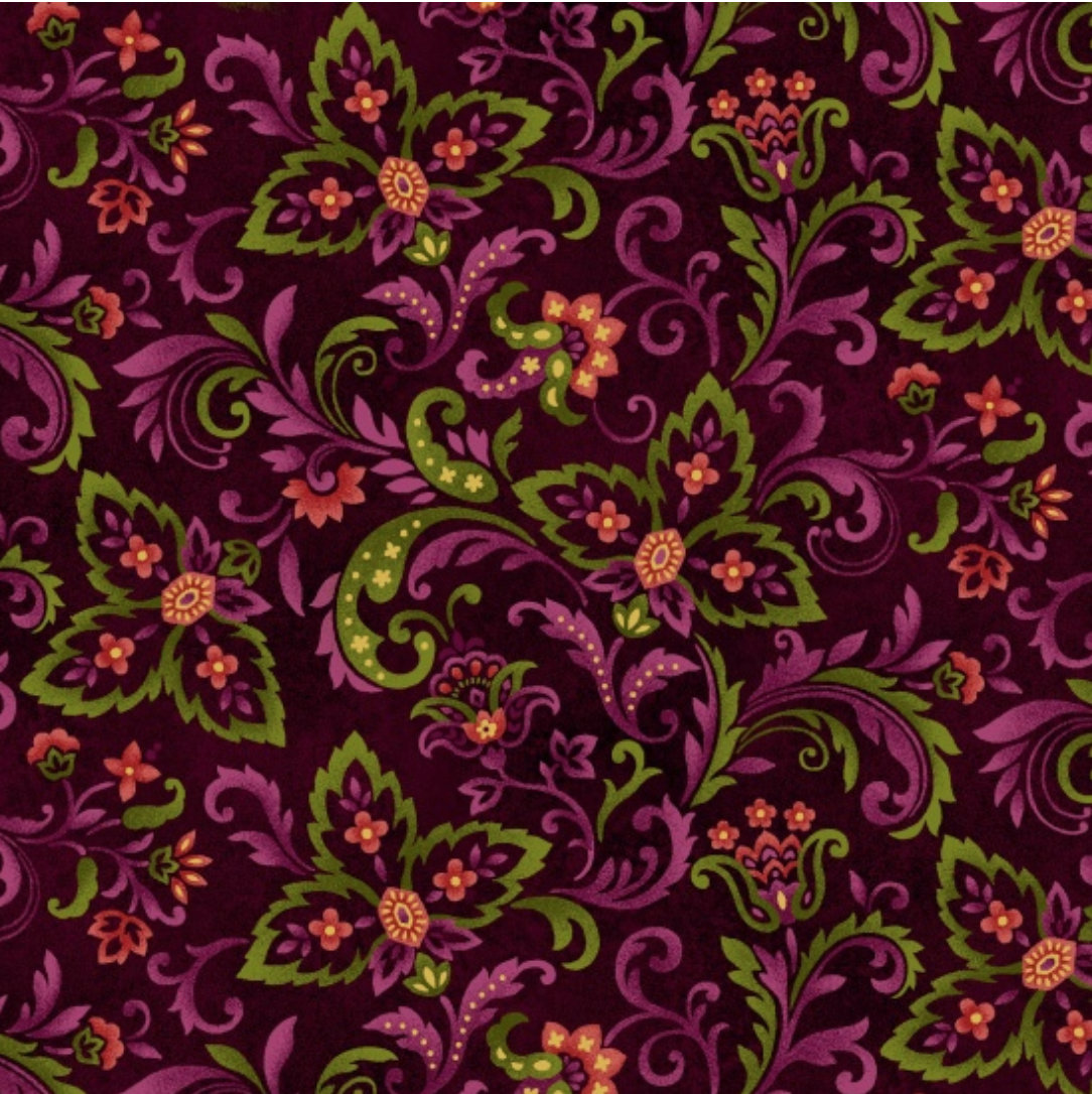 Autumn Album 2019-89 by Henry Glass Fabrics Paisley print  on brown background