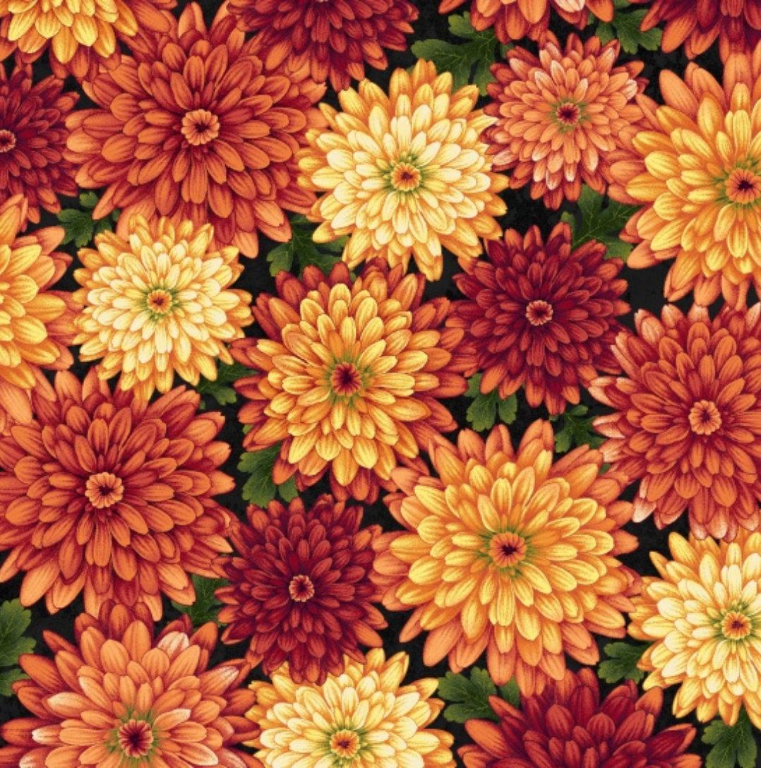 Autumn Album 2023-99 by Henry Glass Fabrics Fall Chrysanthemums Thanksgiving
