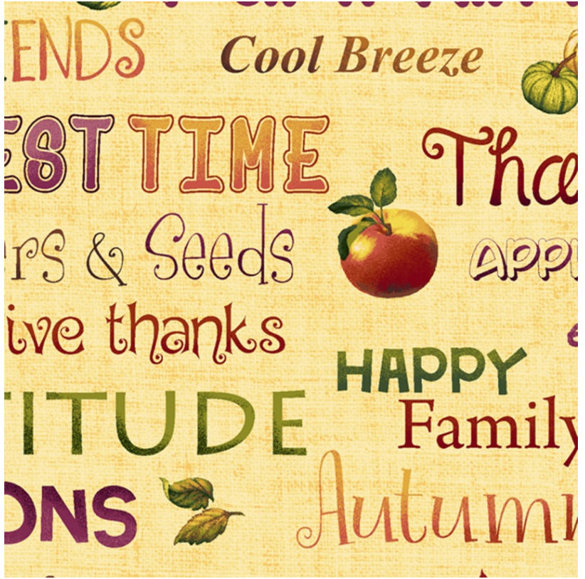 Autumn Time HEG2327-33 by Henry Glass Fabrics Words print Thanksgiving Family Butter
