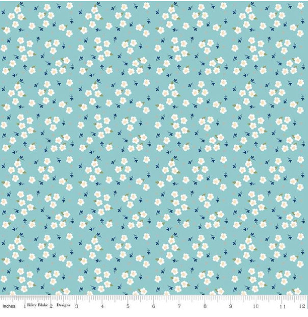 Azure Skies Floral Blue designed by Simple Simon and Company for Riley Blade Designs floral fabric yardage
