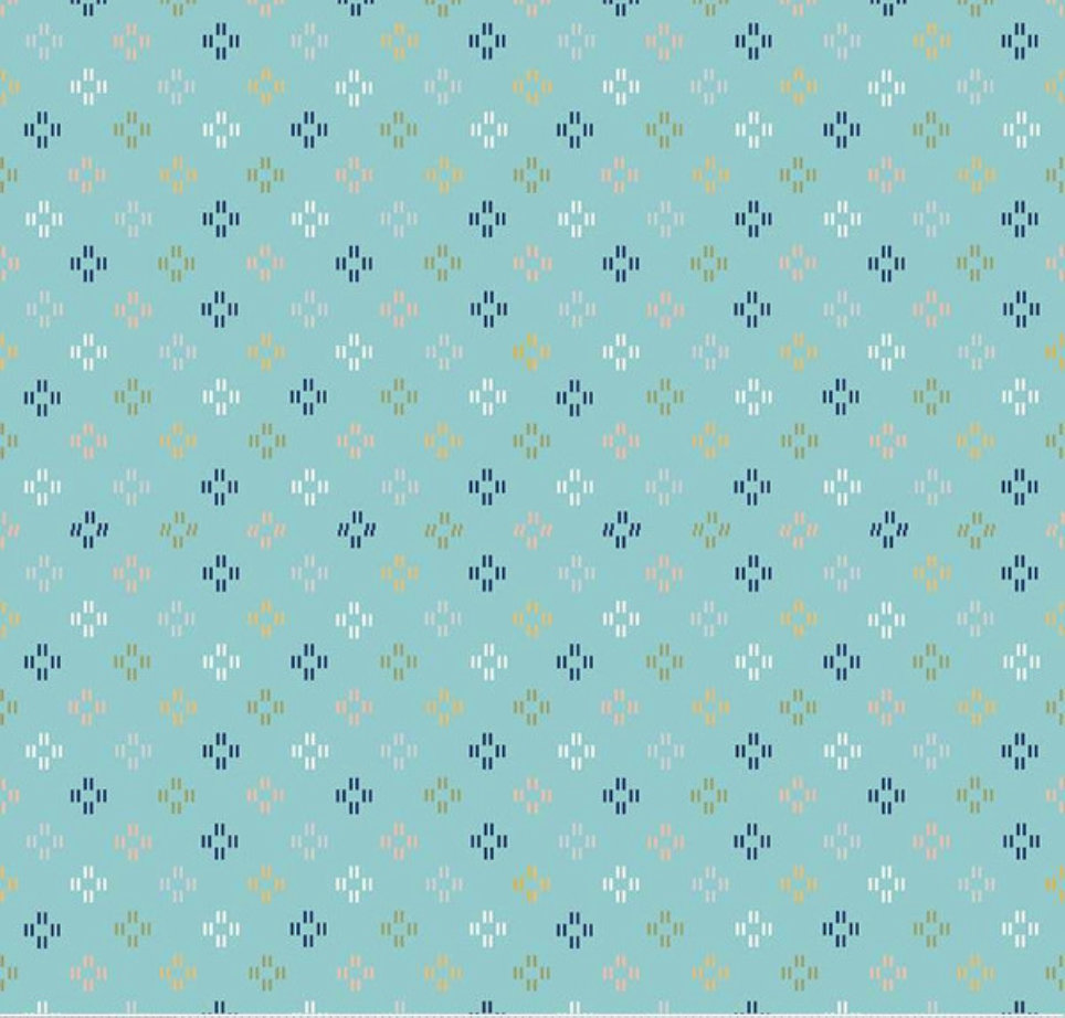 Azure Skies Stitches Blue designed by Simple Simon and Company for Riley Blade Designs geometric fabric yardage