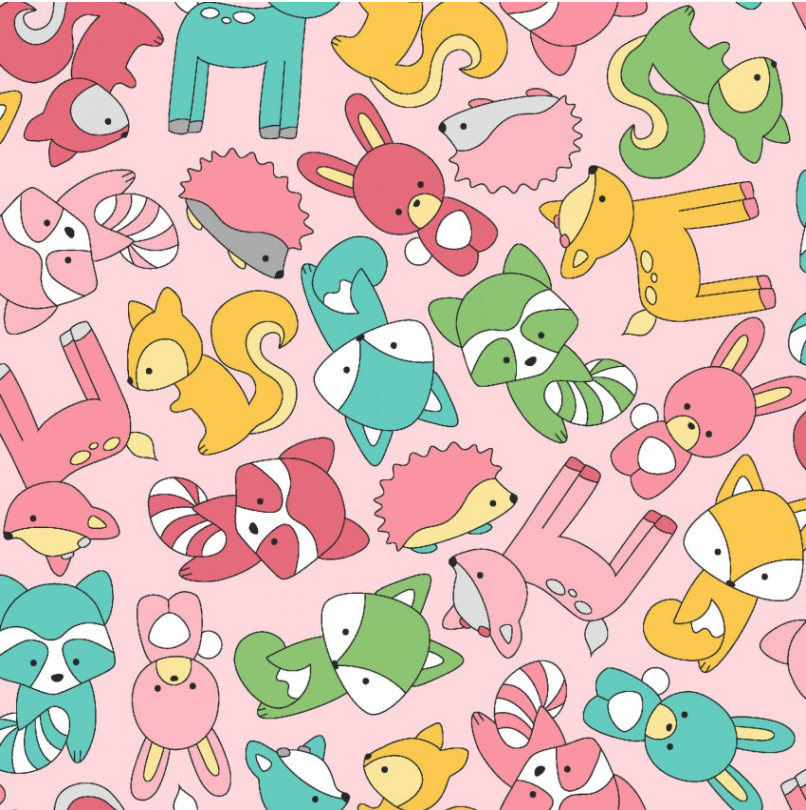 Babe in the Woods Flannel Too! Mini Baby Animals Pink flannel fabric by Rachel Shelburne for Maywood Studio MASF8101-P Nursery