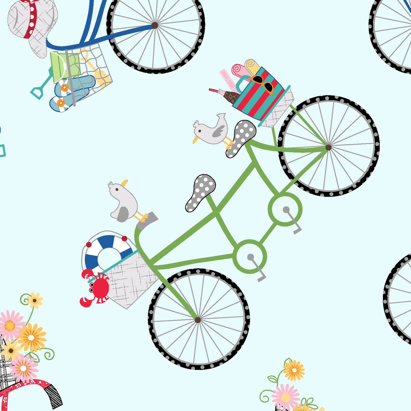 Bicycles fresh blue from the Vintage Boardwalk collection designed by Kim Christopherson Kimberbell MAS9712-B bikes beach theme summer