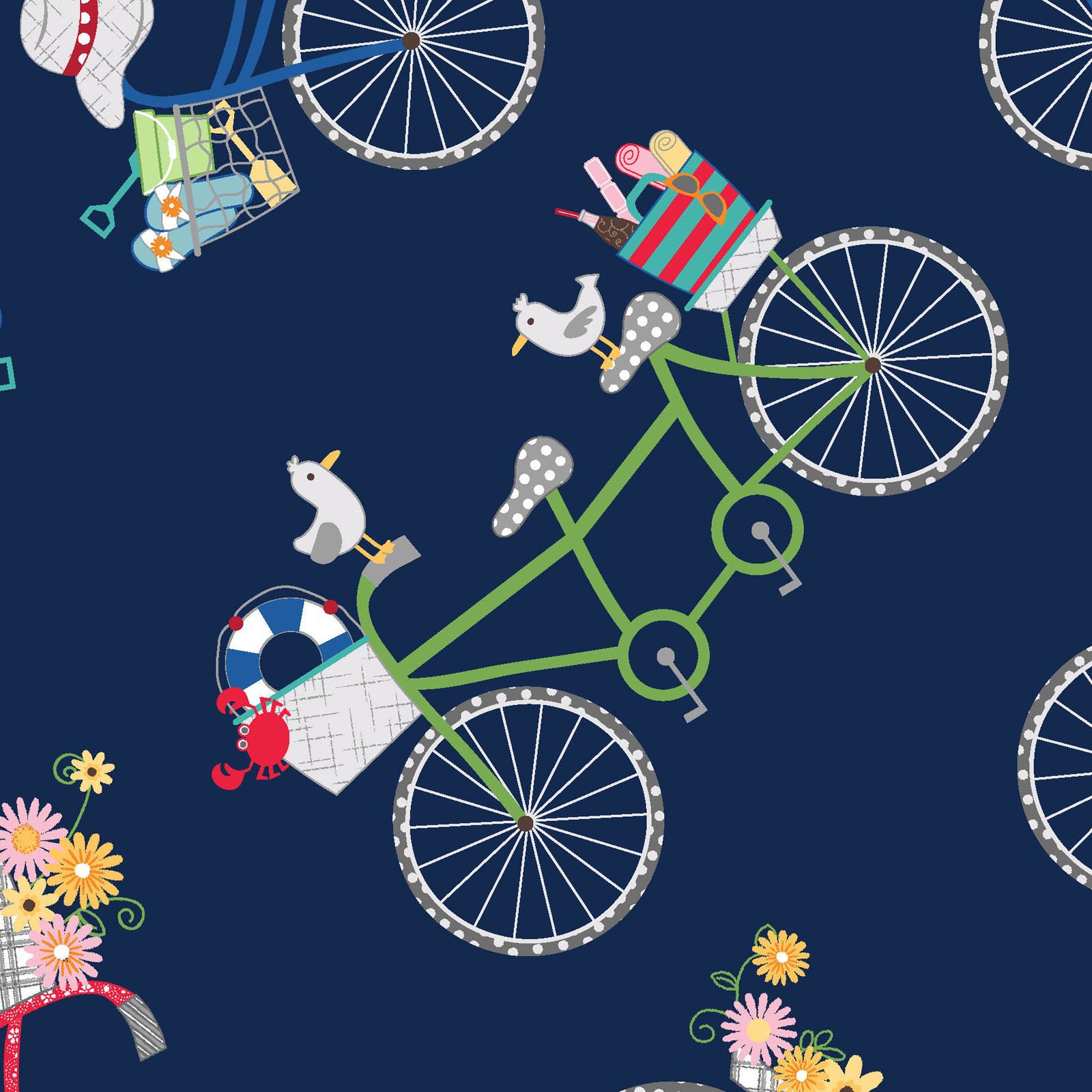 Bicycles navy blue from the Vintage Boardwalk collection designed by Kim Christopherson Kimberbell MAS9712-N bikes beach theme summer