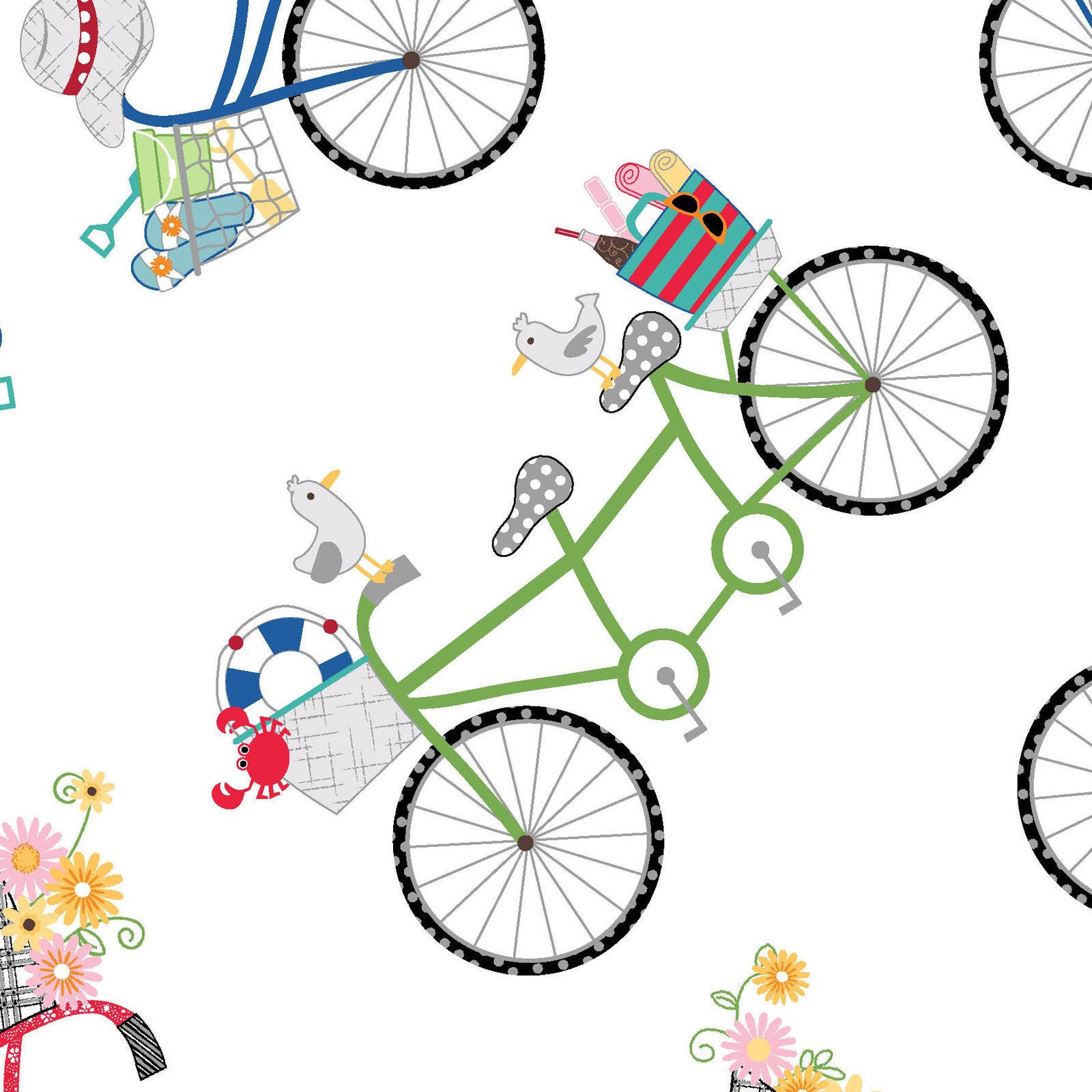Bicycles ultra white from the Vintage Boardwalk collection designed by Kim Christopherson Kimberbell MAS9711-UW bikes beach summer