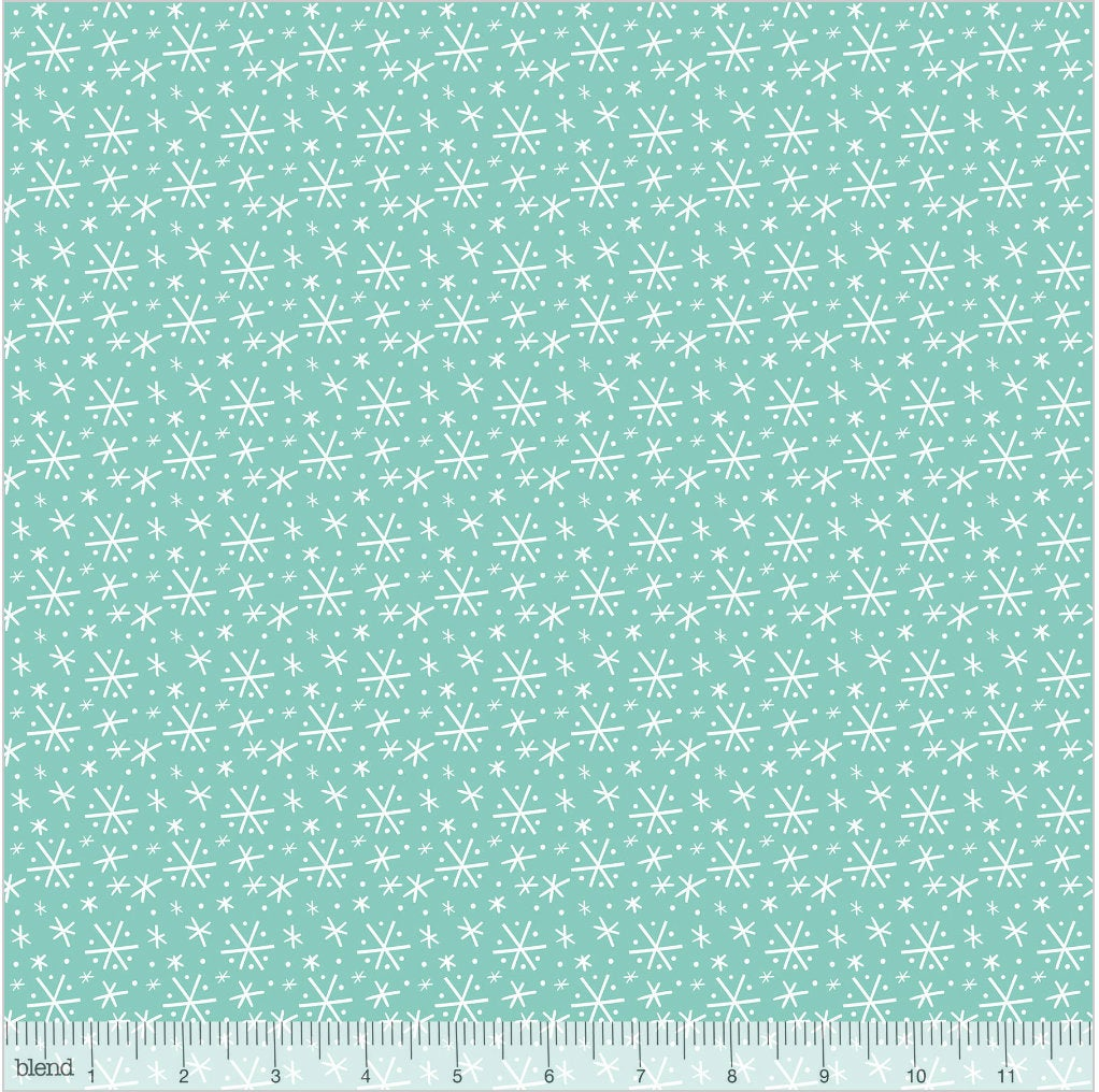 Blizzard Blue  from the Snowlandia Collection designed by Maude Asbury for Blend Fabrics Snowflakes Winter Christmas