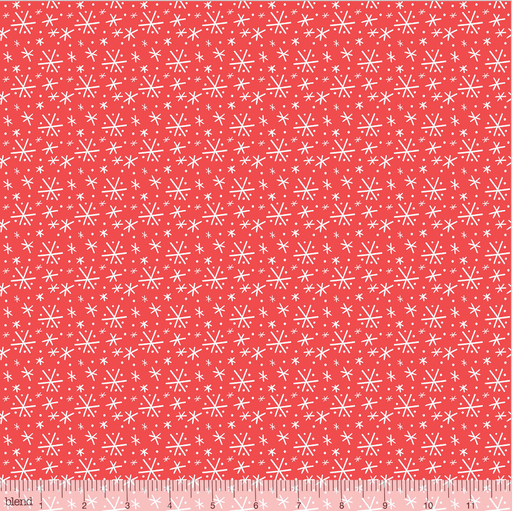 Blizzard Red  from the Snowlandia Collection designed by Maude Asbury for Blend Fabrics Snowflakes Winter Christmas
