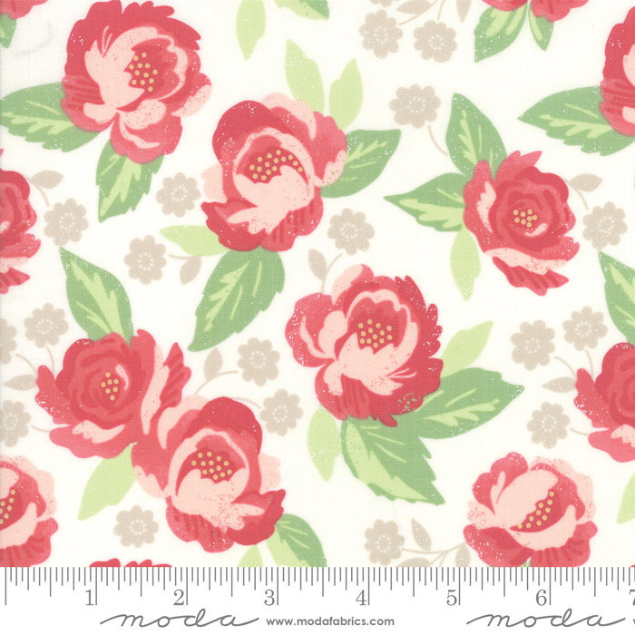 Blomington Faded Blooms Eggshell 5110-11 designed by Lella Boutique for Moda Fabrics floral metro