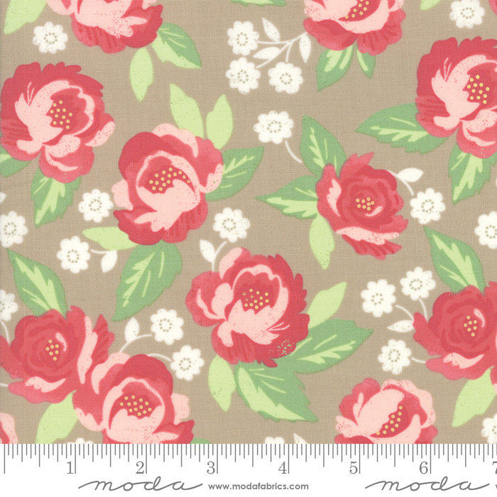 Blomington Faded Blooms Taupe 5110-12 designed by Lella Boutique for Moda Fabrics floral metro
