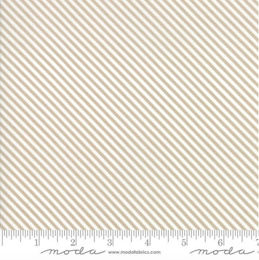 Bloomington Candy Stripe Taupe  designed by Lella Boutique for Moda Fabrics Geometric metro  5116-12 tan light brown