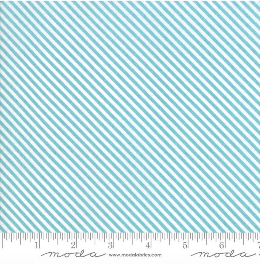 Bloomington Candy Stripe Teal designed by Lella Boutique for Moda Fabrics Geometric metro  5116-15 blue