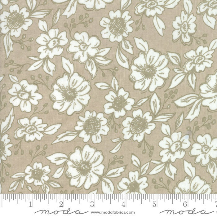 Bloomington Flower Shop Taupe designed by Lella Boutique for Moda Fabrics floral metro  5111-12