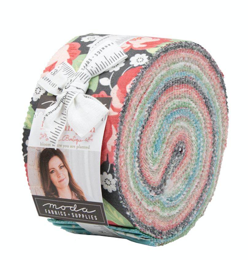 Bloomington Jelly Roll designed by Lella Boutique for Moda Fabrics 5110JR floral geometric precuts