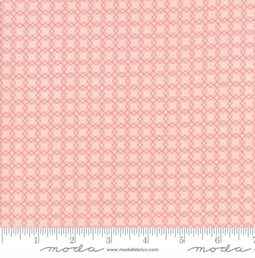 Bloomington Mini Lattice Rose designed by Lella Boutique for Moda Fabrics Geometric metro  5115-15 Peach