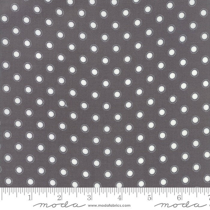 Bloomington Parisian Dot Charcoal designed by Lella Boutique for Moda Fabrics dots  metro  5114-13