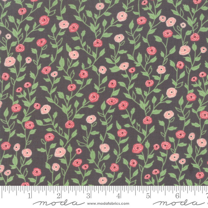 Bloomington Pocket Full of Posies Charcoal designed by Lella Boutique for Moda Fabrics floral metro  5112-13