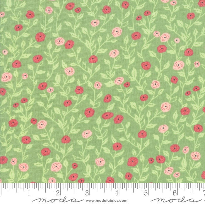 Bloomington Pocket Full of Posies Sage designed by Lella Boutique for Moda Fabrics floral metro  5112-17
