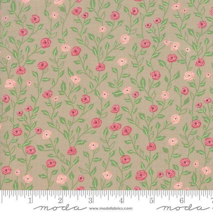 Bloomington Pocket Full of Posies Taupe designed by Lella Boutique for Moda Fabrics floral metro  5112-12
