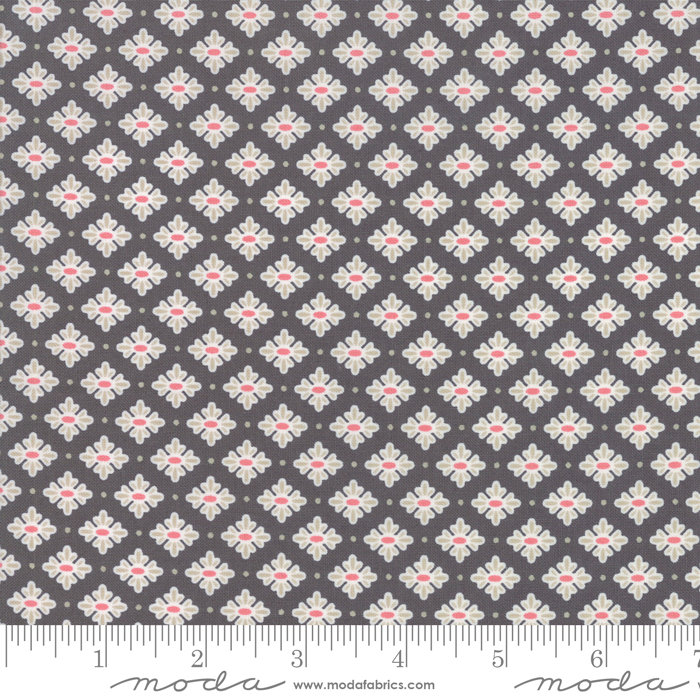 Bloomington Teatime Charcoal designed by Lella Boutique for Moda Fabrics floral metro  5113-13