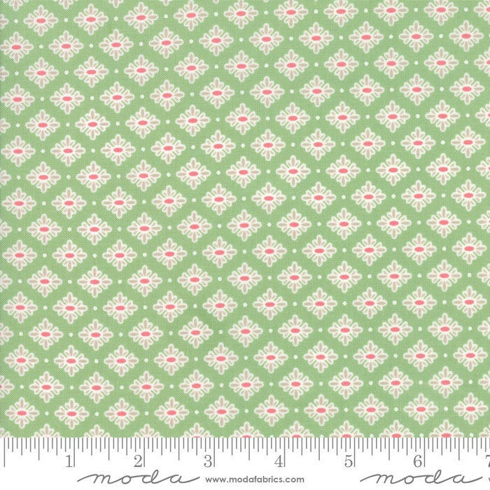 Bloomington Teatime Light Green designed by Lella Boutique for Moda Fabrics floral metro  5113-17