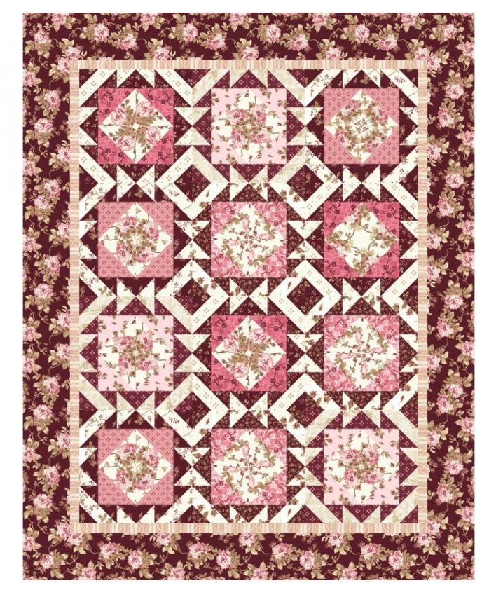 Burgundy & Blush Quilt Kit by Maywood Studios KIT-MASBUB Mother's Day Burgundy Cream Floral Fabric