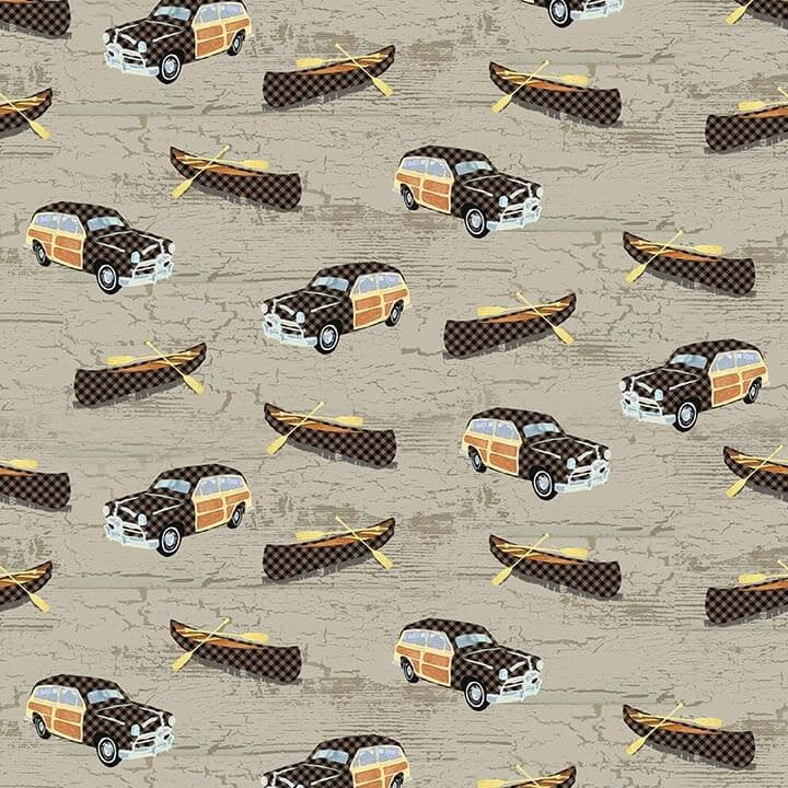 Canoes and Cars Beige Q-1693-33 Twilight Lake Collection from Henry Glass Fabrics.  Outdoor Lake Forest