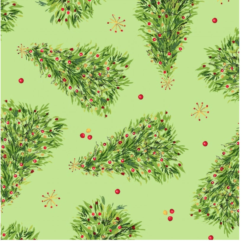Christmas Trees Green  from the All the Trimmings collection by Maywood Studio MAS9372-G  Holiday - Christmas Novelty yardage