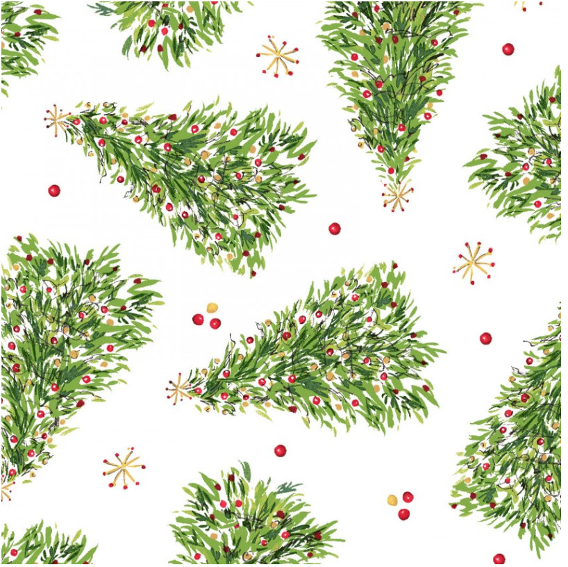 Christmas Trees White from the All the Trimmings collection by Maywood Studio MAS9372-W  Holiday - Christmas Trees Novelty yardage