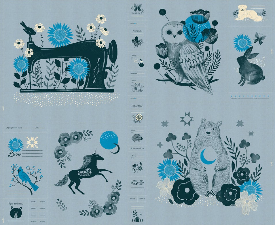 Crescent Light Blue Panel and Project Sheet from Ruby Star Society by Sarah Watts - 36 x 44 Panel Light Blue Moda Fabric