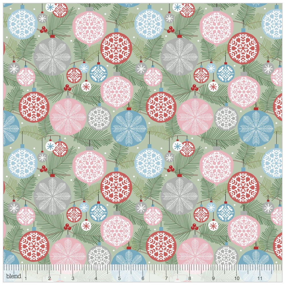 Deck the Halls Light Green from the Baubles & Boughs Collection designed by Maude Asbury for Blend Fabrics Christmas 101.146.03.1