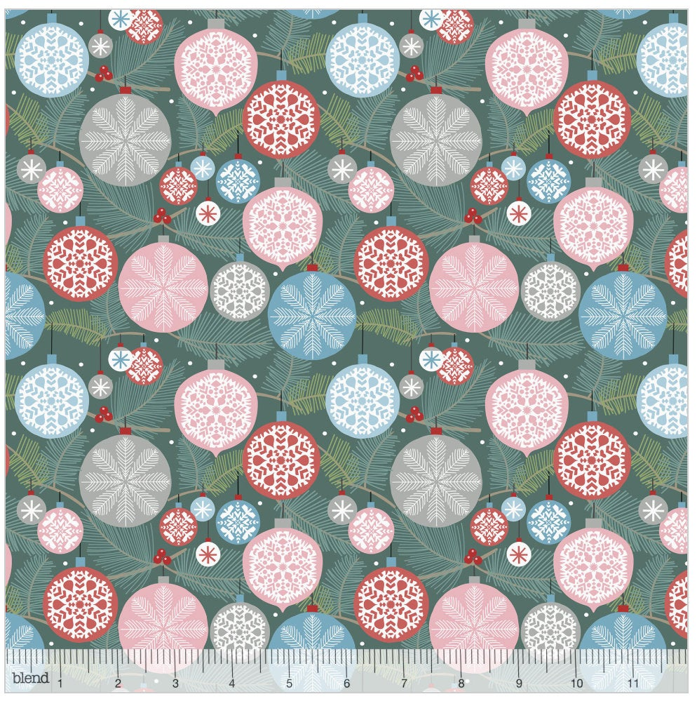 Deck the Halls Teal from the Baubles & Boughs Collection designed by Maude Asbury for Blend Fabrics Christmas 101.146.03.2