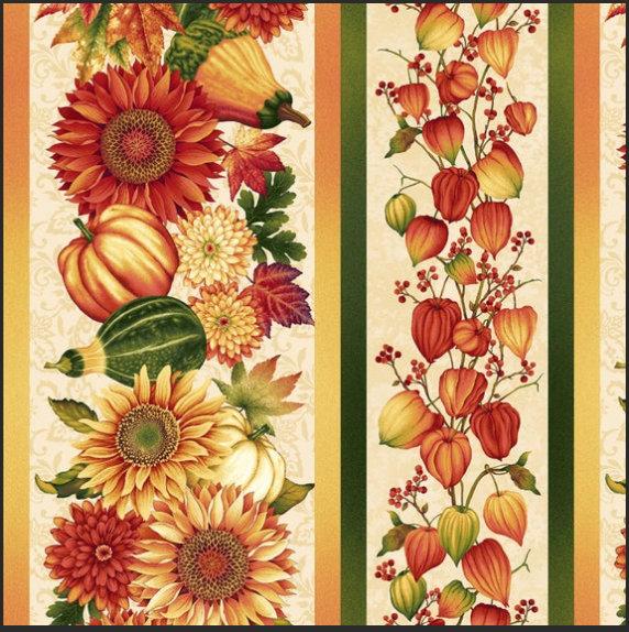 Fall Border Stripe fabric  from Autumn Album 2022-44 by Henry Glass Fabrics  Fall print pumpkins Thanksgiving