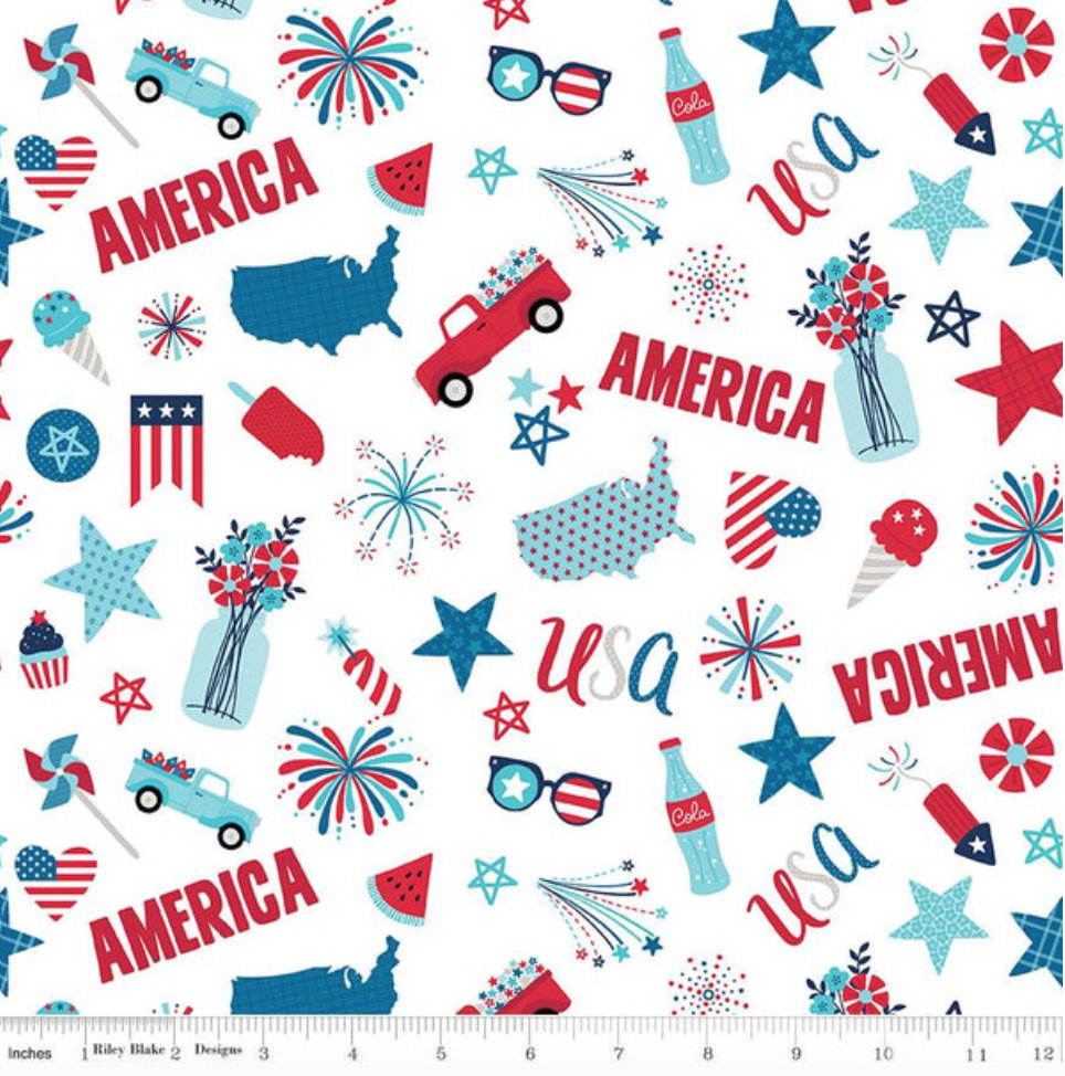 Fireworks and Freedom- C9300 White Main - By Bella Blvd. for Riley Blake Designs Patriotic 4th of July yardage