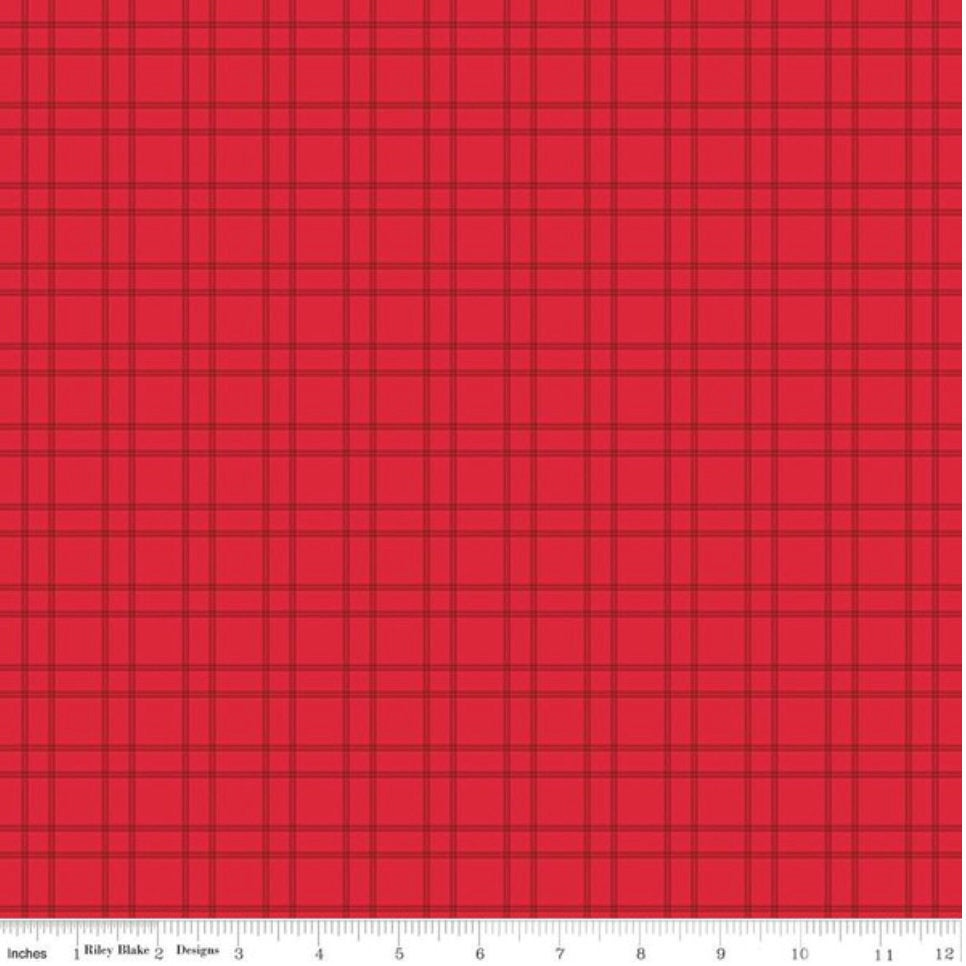 Fireworks and Freedom- C9304 Plaid Red - By Bella Blvd. for Riley Blake Designs Patriotic Plaid  yardage