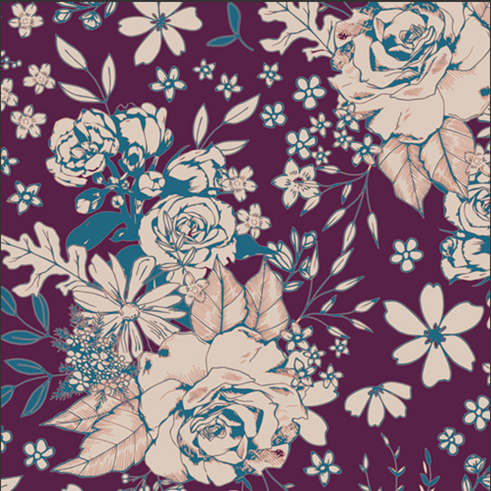 Floral Universe Plum Fabric from Soulful designed by Maureen Cracknell for AGF