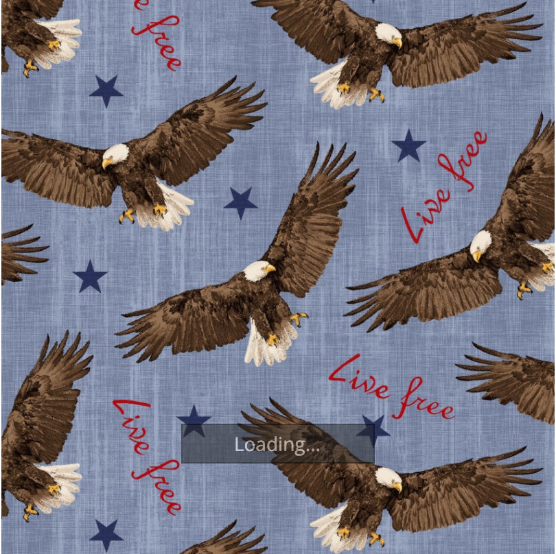 Flying Eagle from Live Free Collection designed by Jessica Mundo for Henry Glass Fabrics Patriotic Birds & Feathers Text HEG9179-73