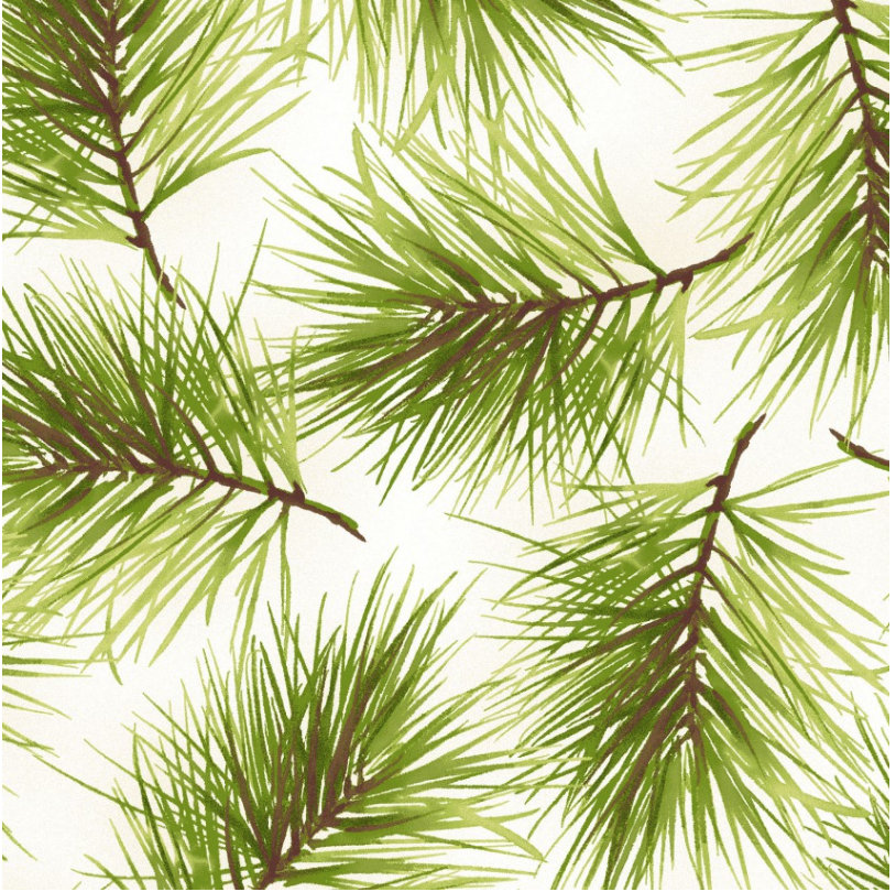 Fresh Pine in Cream from the Poinsettia & Pine Collection Maywood Studio Christmas Holidays  Pine Boughs