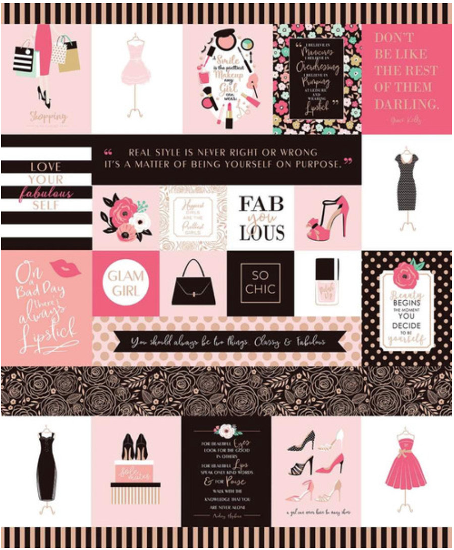Glam Girl Pink Panel  with Rose Gold Sparkle designed by Dani Mogstad for Riley Blake Designs SC8638-Pink